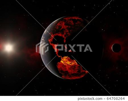 大流行圖像地球破壞perming3DCG插圖素材 64708264