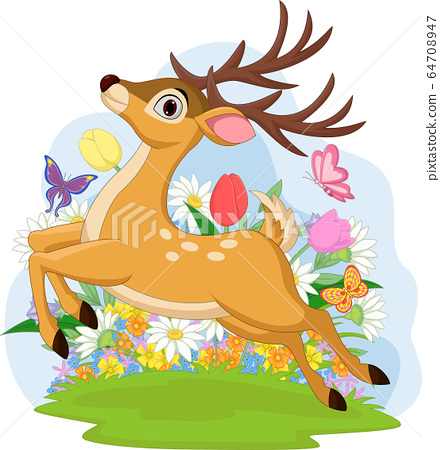 Funny dear jumping with flowers in the background 64708947