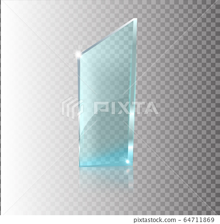 Glass transparent banner. Vector glass plates with a place for inscriptions isolated on transparent background. Flat glass. Realistic 3D design. Vector transparent object . 64711869