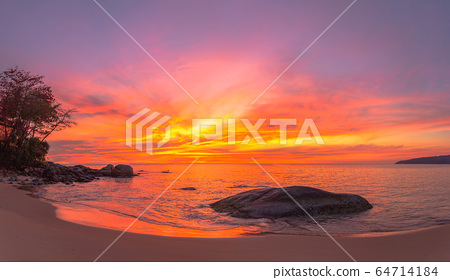stunning red sky at sunset over the sea 64714184