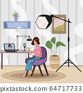 Girl making podcast Internet digital recording for online broadcasting social media network female blogger in home. Interview, podcast, video recording in studio. Concept for web banner, website page 64717733