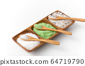 sea salt and spoons on wooden tray 64719790