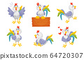 Rooster Funny Character with Bright Feathers Singing and Sitting on Wooden Plank Vector Set 64720307