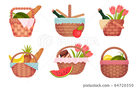Picnic Baskets Full with Foodstuff Like Fruit and Bread Vector Set 64720350