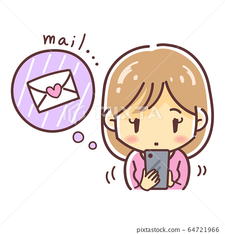 Illustration of a woman staring at a smartphone and worrying about emails from him (love / marriage) 64721966