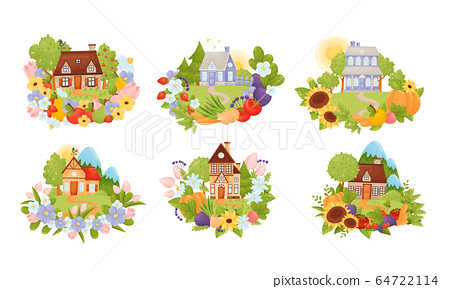 Village Houses Standing on Meadow with Winding Path Surrounded by Circular Crop and Flower Arrangement Vector Set 64722114
