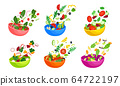 Chopped Vegetable Salad Ingredients Falling Down in the Bowl Vector Set 64722197