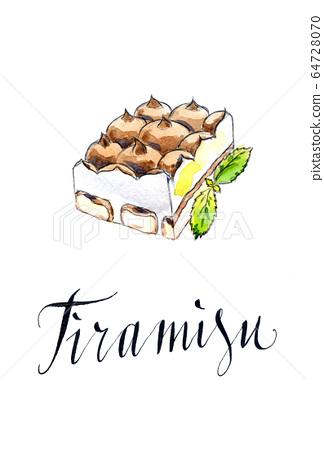 Italian tiramisu dessert with amaretto 64728070