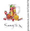 Refreshing sangria, punch 64728079