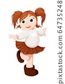 Vector red-haired girl is dance and smiling. Ginger schoolgirl vector 64735248