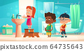 Kids wash hands in bathroom, children hygiene 64735643