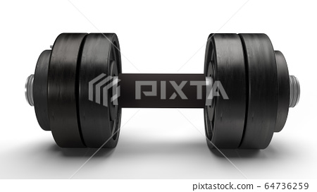 The dumbbell on white background 3d rendering for sport content. 64736259
