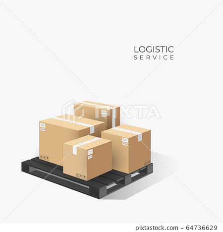 Boxes on wooden pallet. Cardboard parcel box with 64736629