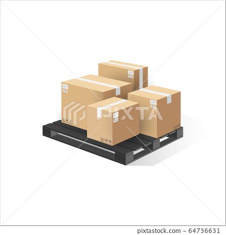 Boxes on wooden pallet isolated. 3d perspective 64736631
