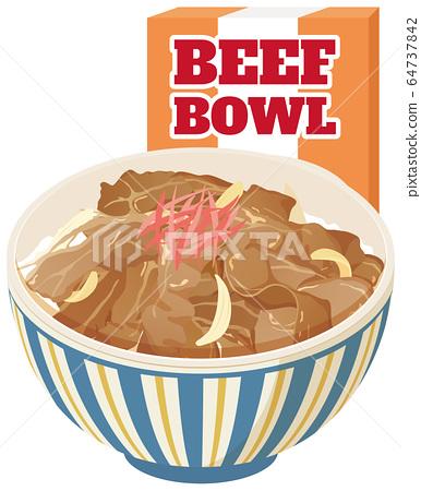 蒸煮食物Gyudon英文版 64737842