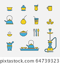 Tea cups and kettles colored outline icons 64739323