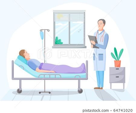 Patient and doctor in hospital room, person on intravenous therapy treatment in ward, ill men on recovery in clinic, healthcare concept, vector 64741020