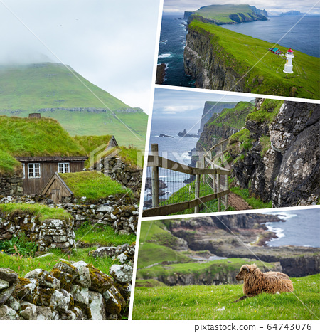Collage of popular tourist destinations in Faroes 64743076