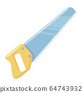 Saw cartoon icon. Flat Handsaw on white background. Hacksaw Vector isolated object Carpentry tool clipart for sawing wood. Simple illustration element 64743932