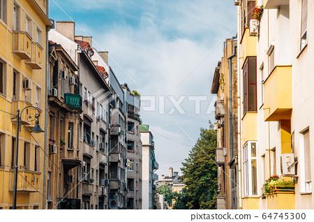 Belgrade downtown vintage buildings in Belgrade, Serbia 64745300