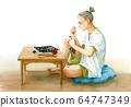 천 마스크를 자작하는 여성 64747349
