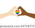 Hands make love sign with pride heart on white 64748773