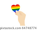 Hands holding pride heart on white background  64748774