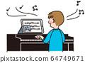 Boy learning piano online 64749671