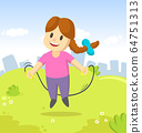 Happy smiling little girl jumping over a skipping rope outdoors on city and blue sky background. Funny cartoon character. Cartoon vector flat illustration. 64751313