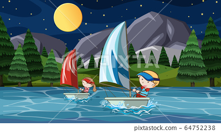 Scene with people sailing at night 64752238