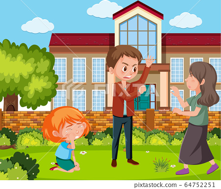 Scene with parents bullying their family at home 64752251