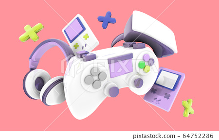 Colorful Video game controller, headphones and 64752286