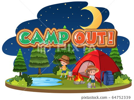 Font design for camp out with tent in the park 64752339