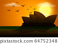 Silhouette scene with opera house at sunset 64752348