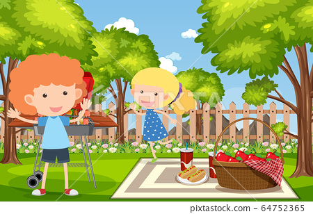 Background scene with kids eating in the park 64752365