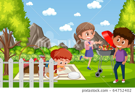 Background scene with kids eating in the park 64752402