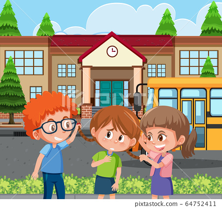 Scene with kid bullying their friend at school 64752411