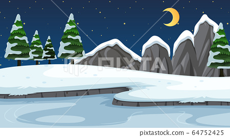 Background scene with snow in the field 64752425