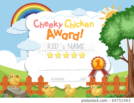Certificate template design for cheeky chicken 64752463