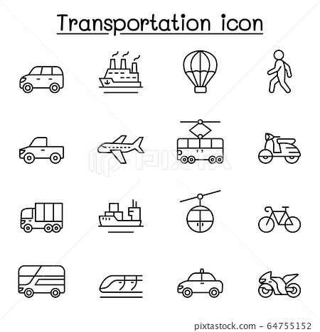 Set of Transportation related vector line icons. 64755152