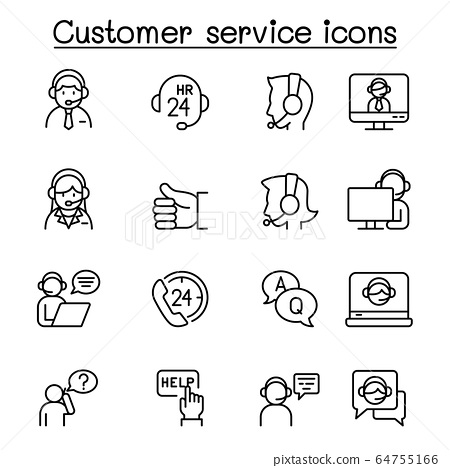Set of Customer service related vector line icons. 64755166