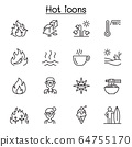 Set of  heat related vector line icons. contains 64755170