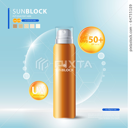 Sunblock ads template, sun protection cosmetic products design with moisturizer cream or liquid, sparkling background with glitter polka, vector design. 64755189