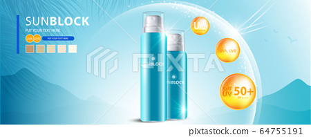 Sunblock ads template, sun protection cosmetic products design with moisturizer cream or liquid, sparkling background with glitter polka, vector design. 64755191