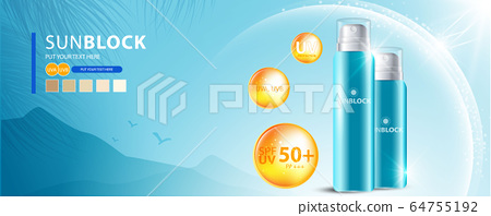 Sunblock ads template, sun protection cosmetic products design with moisturizer cream or liquid, sparkling background with glitter polka, vector design. 64755192