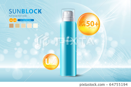 Sunblock ads template, sun protection cosmetic products design with moisturizer cream or liquid, sparkling background with glitter polka, vector design. 64755194