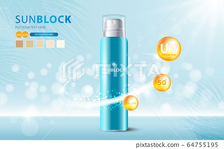 Sunblock ads template, sun protection cosmetic products design with moisturizer cream or liquid, sparkling background with glitter polka, vector design. 64755195