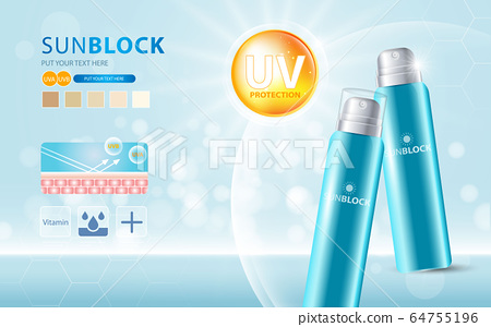 Sunblock ads template, sun protection cosmetic products design with moisturizer cream or liquid, sparkling background with glitter polka, vector design. 64755196