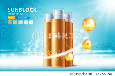 Sunblock ads template, sun protection cosmetic products design with moisturizer cream or liquid, sparkling background with glitter polka, vector design. 64755198