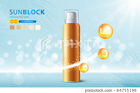 Sunblock ads template, sun protection cosmetic products design with moisturizer cream or liquid, sparkling background with glitter polka, vector design. 64755199